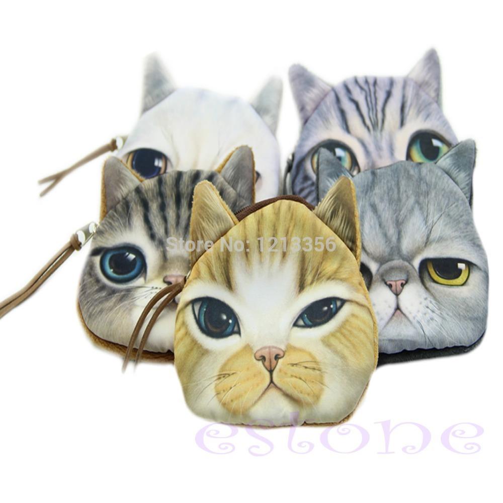 "U95""Children Mini Cute Cat Face Zipper Case Coin Kids Purse Wallet Makeup Bag Pouch Free Shipping(China (Mainland))"