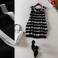 Free shipping! 2014 new European Loose sleeveless striped stitching O- neck waist dress