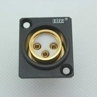 1PC Black 3PIN Female XLR Jack Connector,24K Gold Plated Tellurium Copper,Teflon