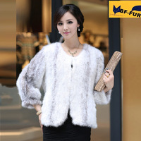 Fashion New Design 2014 Fur Jackets Real Natural Knitted Mink Fur Coats Outerwear Genuine Women Winter Fur Overcoat  Wholesale