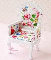 1/12 Dollhouse Miniature Toy WHITE Rich Flower Victoria Single Wood Chair Furniture