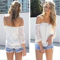 2014 New sexy Style Women Loose Off Shoulder Lace Floral Crochet Blouse Tops T-shirts slash neck plus size t shirt