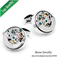 Shirt Cufflinks, Stainless Steel Silver Color Kinetic Watch Movement Cufflinks OP1054