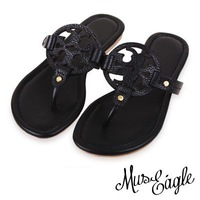 Free shipping brand T sandals Star style summer Genuine leather sandal flip flops women brand shoes