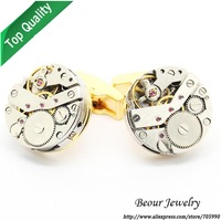 Shirt Cufflinks, Silver Color Steampunk Cufflinks with Small Round Identical Vintage Golden Bottom Watch Movements OP1049