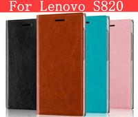 Leather pure color flip cover case for Lenovo S820 case Lenovo S820 cover