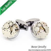 Shirt Cufflinks, Silver Color Steampunk Cufflinks with Small Round Identical Vintage Black Bottom Watch Movements OP1032
