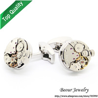 Shirt Cufflinks, Silver Color Steampunk Cufflinks with Small Round Identical Vintage Movement Watch Movements  OP1031
