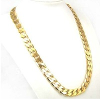 New Hip Hop Gold LONG SIMPLE CHAIN Statement Necklace THICK Link Chain 24inch 10mm 18K GP Yellow Gold Plated