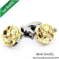 Shirt Cufflinks, Golden Steampunk Cufflinks with Small Round Identical Vintage Black Bottom Movement Watch Movements OP1043