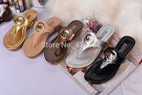 Free shipping 2014 promotion brand M logo flip flop Star style summer sheepskin cowhide sandal flip flops for women