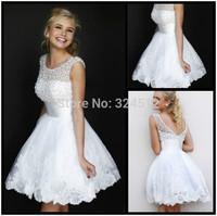 2014 Charming Diamond White Short Tea Length Bridal Wedding Dress Sexy Mini Length Custom Size