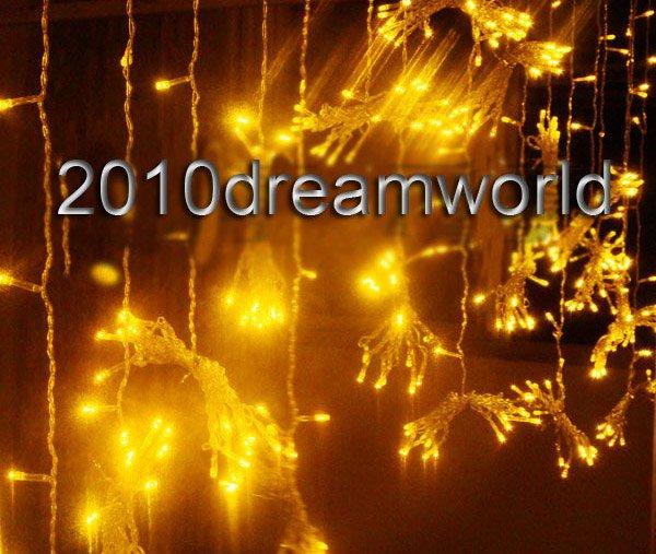 Yellow,Factory Store,Decoration Curtain lights string,6X3M,20X10ft Hotel Garden Xmas Wedding Party,110/120/220V UK/EU/AU/US Plug(China (Mainland))