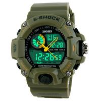 2014 Men Sports Watches 2 Time Zone Digital Quartz Watch Dive 50M Waterproof LED Electronic Multifunctional Military Wristwatch