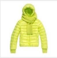 New 2014 women Down Jacket Female Fluorescence Candy colors Duck Down Jacket Women Casual Rabbit  Hooded winter coat women