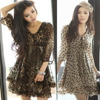 Novelty women chiffon leopard dress size M--XXXL atacado roupas femininas