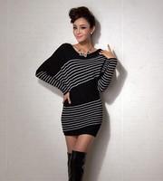 Women's 2014 Autumn Pullover Sweater Stripe XXXXL Plus Size Knitwear Full sleeve o-neck oversized knitted Long sweaters ricotado