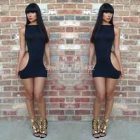 New Fashion Black Cheap Women Sleeveless Cut Out Bodycon Bandage Dress Summer Sexy Dress S,M,L