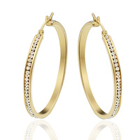 luxury big loop hoop earrings gold plated with a lot of crystal stone for women and girl