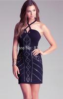Best Quality 2014 summer new women 2014 ROSE RED BLACK HL BANDAGE DRESS Celebrity dress Party Evening Dresses HL