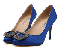 Free shipping 2014 New Famous Brand Thin heels Rhinestone pumps for women High Heel female Wedding shoes JF981