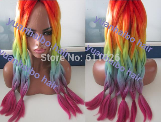 Colorful Rainbow Ombre Hair Folded Ombre Color Rainbow
