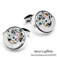 Accessories for Men, Stainless Steel Silver Color Kinetic Watch Movement Cufflinks KL1004