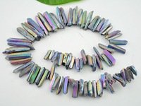 Titanium Rainbow Quartz Sticks Crystal Points Spikes Drilled Briolettes Rough Beads 16 inch Strand 15 -39 mm