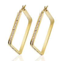 Square design gold crystal hoop earrings stainless steel party jewelry for women girl