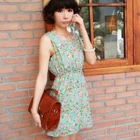 Clearance Floral Print Women Summer Dress 2014 New Tank Elastic Band Cute Sleeveless Japanese Lady Mini Chiffon Flower Dress