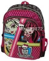 New 2014 School Bags for Girls Monster High Printing Backpack Children Cartoon Bag School Backpack Schoolbag Kids Backpack