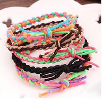 wholesale new hand-woven Joker candy color hair bands Colorful color mixture stretch elastic plait hair bands hair bracelets