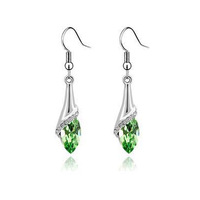 Wholesale 18k gold white gold plated Real Austrian Crystal earrings fashion jewelry  1J89