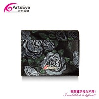New 2014 Women Korean Style Personalized Flower Luxury Brand Cowhide Genuine Leather Wallets , Drop Shopping