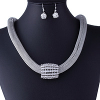 [Free Style] Free Shipping African Fashion Silver Plated Crazy Big Heavy Necklace Jewelry Set ,Costume Jewelry Crystal Pendants