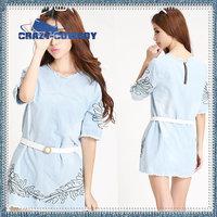 2014 short sleeve O-Neck clothing casual S M L maxi plus size dresses vintage summer spring print floral  denim jean dress