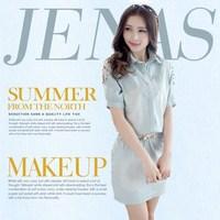 Korean style all match 2014 summer sweet women's dress trend female rivet hollow denim cotton dress pocket decoration with belt