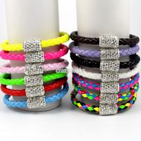 3Pcs 6mm Shamballa Magnetic PU Leather Men`s And Women`s Fashion Bracelets Free Shipping