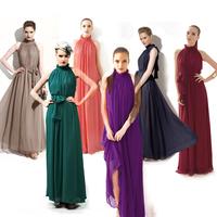2014 New Hot Sale Fashion Korean Long Lady Summer Bohemia Dress Nightclub Full Dresses Ruffled Maxi Dress Chiffon Clothing