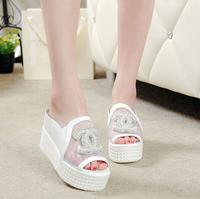 2014  Europe stood han edition diamond waterproof shoes white gauze sponge thick bottom fish mouth female cool slippers