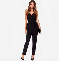 Free shipping fashion 2014 latest Strapless deep V Arman corset conical zip back long black jumpsuits jumpsuit.