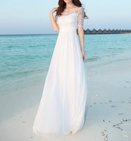 2014 New Arrived Lady Bohemian dresses,Women Heavy embroidery Boat Neck Strapless Beading Seaside vacation dress Goddess Dresses
