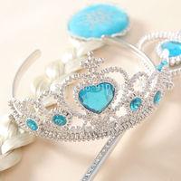 10 sets/lot Frozen Elsa Anna synthetic hair wig extension crown headband magic wand 3pcs set cosplay acessories