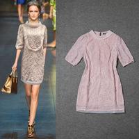 2014 Spring and summer new women's runway fashion high quality hand huaqun pink elegant dress 0530-05