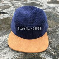 Free shipping High quality navy corduroy custom blank 5 panel headwear camp cap baseball hat
