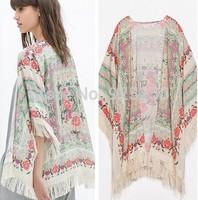 Kimono Cardigan 2014 Fashion Women  summer Long Sleeve Shirt  European Style Chiffon tassel Floral Print loose Blouse jacket