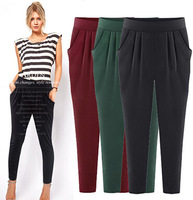Free shipping 2014 the Spring and Autumn sports harem pants high waist  large size women's casual pants harem pants 9018