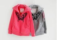 Hot sale! 2014 New Fashion Korean Kids Girls Hoodies Sweatshirts  Girls Children's Clothing Coat  Grey and Rose Coat Retail