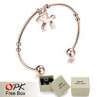 OPK JEWELRY Gift Box Packing! Korean Stylish Cute Little Horse Open Design Charm Bangle Gift for Girl friend 700