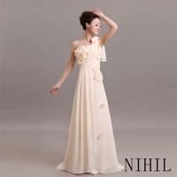 Custom Made Vestido De Festa Longo Prom Dresses 2014 New Floor Length Gown Chiffon Dress Party Evening Elegant Long Formal Dress
